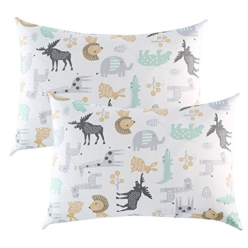 IBraFashion Toddler Pillowcases 2 Packs 14×19 for 13×18, 12×16 Pillow 100% Cotton Wild Animals Printings Set of 2
