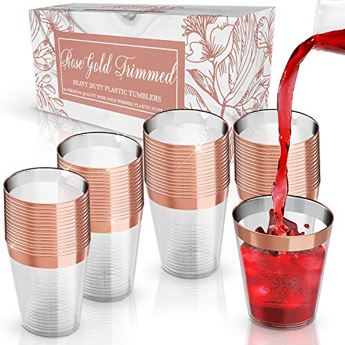 Rose Gold Rimmed Plastic Cups | 10 oz. 60 Pack | Hard Clear Plastic Cup | Disposable Ideal For Glamour Parties | Fancy Wedding Tumblers | Sturdy & Crystal Clear | Elegant Design | Plastic BPA Free
