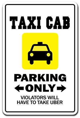 (Taxi CAB Aluminum Sign lyft uber Driver Chauffeur Cabby Cabbie Stand | Indoor/Outdoor | 18