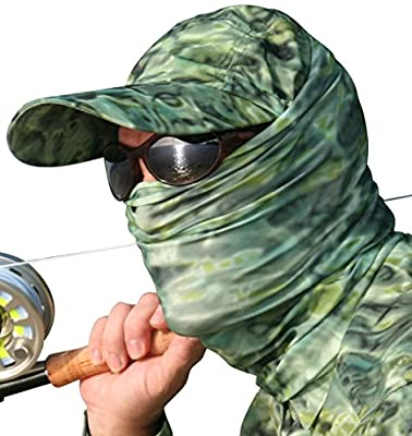 Aqua Design Fishing Sun Mask Camo Multipurpose Face Wind Sun Protection Head Tube Sizes Youth to Adult XL Fishing Hunting Gaiter