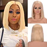 SeraphicWig 8 inch #613 Light Blonde Brazilain Remy Human Hair Lace Front Wigs For White Women Silky Straight Middle Part Short Bob Wig 130% Density