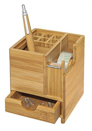 Wedo 611707 Tischorganizer Bambus inkl. Klebefilm-Abroller, für 6 Stifte mit Sammelfach und Schublade braun