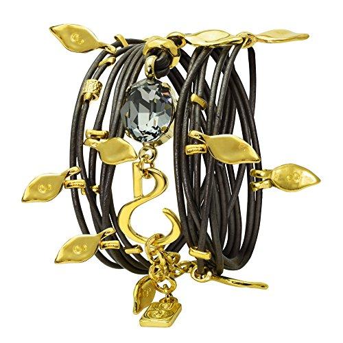 Bracelet Around Swarovski Wrap (Sea Smadar Leather Bracelet Wraparound or Necklace with Swarovski Crystals 24 Gold Plated element)