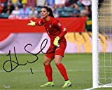 Hope Solo US Women's Soccer Team Autographed 8' x 10' Kicking Red Jersey Photograph - Fanatics Authentic Certified