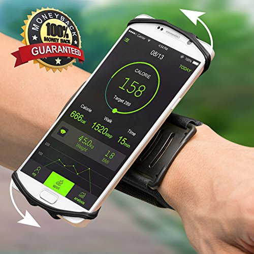 Sports Armband Case Wristband Universal Workout Phone Holder 180° Rotatable Sweatproof for Gym Running Hiking Cycling Compatible with iPhone X 8 Plus 7 6 6S Galaxy Note 8 S8 S7 & 4.0″-5.5″ Phone