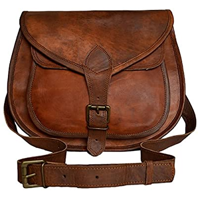 Universal Leather Women's Distressed Leather Crossbody Handbag 10 X 3 X 8 Inches Brown