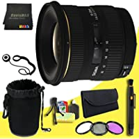 Sigma 10-20mm f/4-5.6 EX DC Lens for Minolta and Sony Digital SLR Cameras + 77mm 3 Piece Filter Kit + Lens Cap Keeper + Deluxe Lens Pouch + Lens Pen Cleaner + DavisMAX MicroFiber Cloth + Deluxe Starter Kit  DavisMAX Bundle