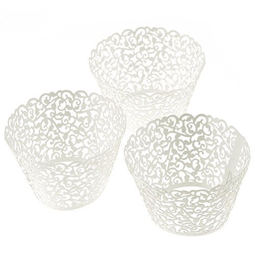 Tinksky Cupcake Wrapper Vine Filigree Lace Wraps Liner Wedding Valentine'S Day Party Cake Decoration (White), Pack Of 120