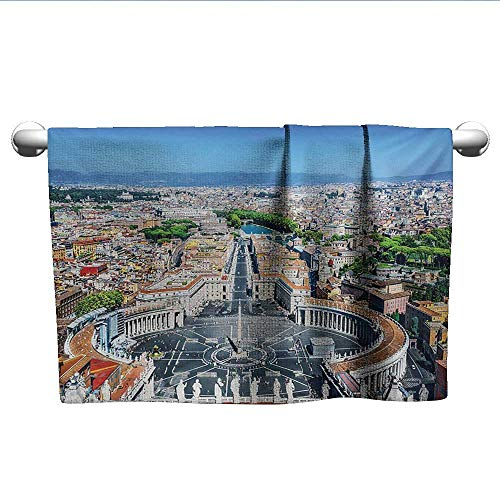 alisoso European,Towels GirlsSaint Peters Square in Rome Italian Mediterranean Europe Citscape Urban Print Decorative Towels Multicolor W 28