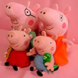 JSM 4PCS Peppa Pig Stuffed Soft Figures Toy Doll George Kids Mummy Daddy Xmas Gift