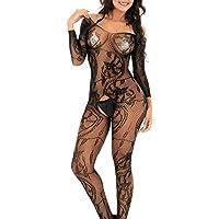 00b68d38ed7 QueensHot Sheer Black Lingerie Babydoll Crotchless Teddy Nightie Leotard  Body Suit Stocking