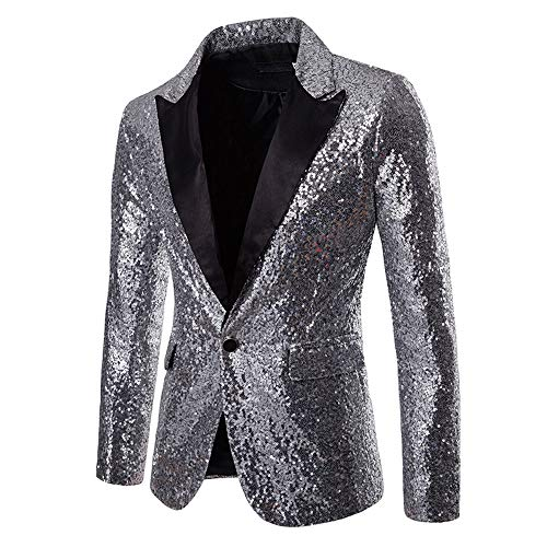 MAGE MALE Men's Shiny Sequins Suit Jacket Blazer One Button Tuxedo for Party,Wedding,Banquet,Prom -