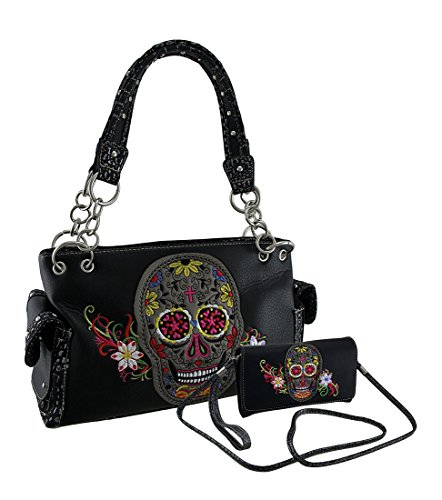 Zeckos Embroidered Floral Sugar Skull Concealed Carry Pur...