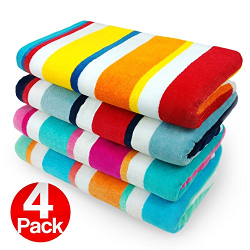 KAUFMAN - 100% Cotton Multicolor Joey Cabana Stripe Beach & Pool Towel 4-Pack - 32in x 62in