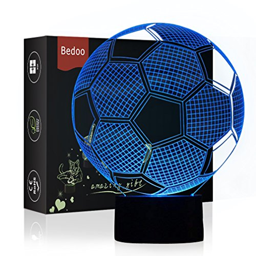 Bedoo LED Night Light 3D Illusion Bedside Table Lamp 7 Colors Changing Sleeping Lighting with Smart Touch Button Warming Present Creative Decoration Ideal Art and Crafts (Soccer)