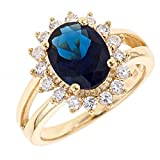 925 Sterling Silver Ring - Gold Vermeil Royal Blue CZ Engagement Ring