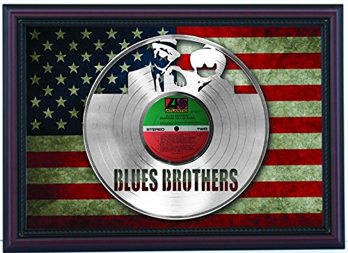 Blues Brothers Briefcase of Blues Custom Cherry Framed Laser Cut Platinum LP & Flag Display (Framed Briefcase)