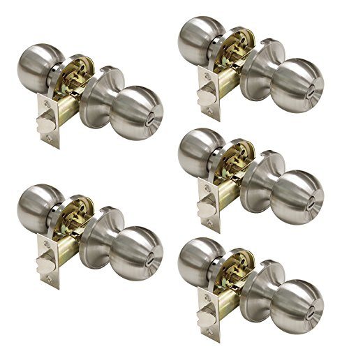 Gobrico Round Bathroom and Bedroom Door Hardware Privac Lockset Knob Satin Nickel Finished 5Pack
