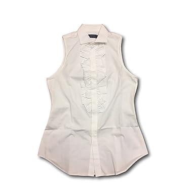 e228be75d15fb RALPH LAUREN Polo Button-Down Sleeveless Shirt White at Amazon ...