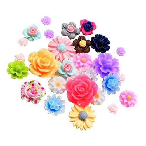 (Fityle 50 Pieces Assorted Colors Size Resin Rose Flower Flatback Cabochons Embellishments)