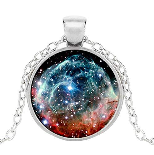 (Nebula Pendant Nebula Galaxy Necklace Turquoise White Silver Necklace Space Universe Necklace )