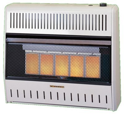 Blower Controlled Thermostatically - PROCOM HEATING MG3T1R 28,000 BTU Dual Fuel Vent-Free Infrared Wall Heater
