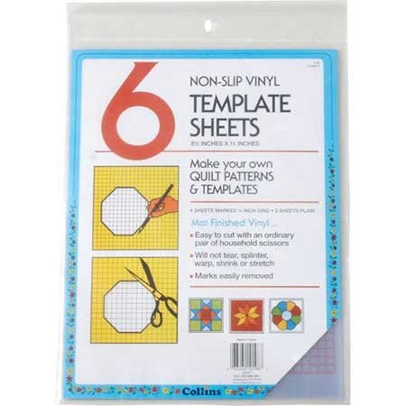 Darice Collins 6 Count Non Slip Vinyl Template Sheet, 8.5 x 11 (Extra Thick Plastic Template)