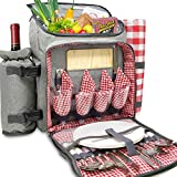 Search : Nature Gear XL Picnic Pack - 4 Person Insulated Design - Waterproof Blanket & Full Cutlery Set