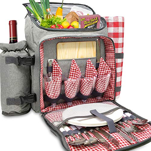 (Nature Gear XL Picnic Backpack - 4 Person Insulated Design - Waterproof Blanket and Full Cutlery Set)