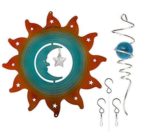UpBlend Outdoors Metal Wind Spinner - Moonrise Blue - Hanging Spinner with Helix Spiral Tail and Glass Ball - All Swivels and Hooks are Included - Kinetic Garden Sculpture for Patio, Deck or Yard. Hanging Yard Art