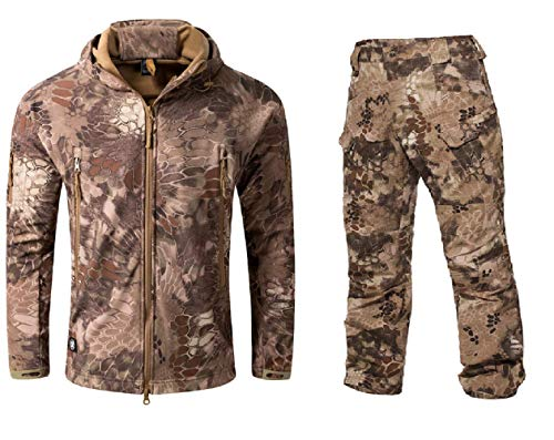 (NEW VIEW Jackets Outdoor Soft Shell Jacket Warm Hooded Camouflage Hunting Jacket and Pants (XXL, 8))