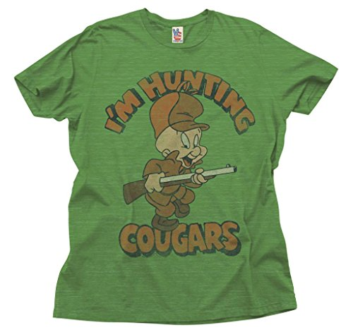 - Junk Food Looney Tunes I'm Hunting Cougars Adult Green T-Shirt (Adult Large)