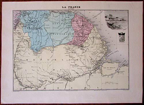 French Dutch English Guiana Guyana South America 1903 decorative antique map ()