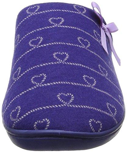 Isotoner Isotoner Heart Heeled Mule Slipper - Pantuflas Mujer Blue (Navy/Lilac)