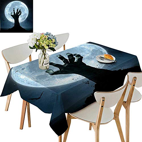 Zombie Rectangle Magnet - UHOO2018 Decorative Tablecloth Square/Rectangle Zombie Hand Earth Soil Full Moon Bat Horror Story October Twilight Themed Assorted Size,50x 50inch