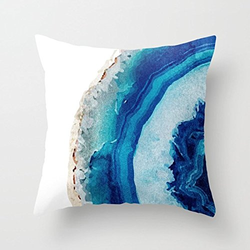 (SPXUBZ Agate Watercolor Round Seaside Beautiful Blue Pillow Cover Decorative Home Decor Nice Gift Square Indoor/Outdoor Pillowcase Size: 18x18 Inch(Two Sides))