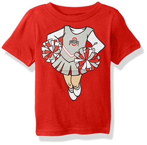 NCAA Ohio State Buckeyes Infant Dream Cheerleader Short Sleeve Tee, Red, 18 (Ncaa Baby Clothing)
