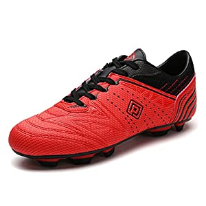 DREAM PAIRS 160859 Men's Sport Flexible Athletic Lace Up Light Weight Outdoor Cleats Football Soccer Shoes Red Black Size 8.5