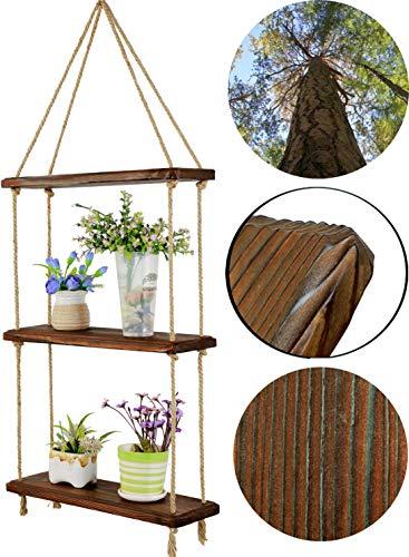 HXSWY Swing Rope Hanging Shelves Window Shelf for Plants Indoor Dark Brown