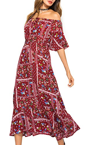 Boho Summer Jusfitsu Sleeve Maxi Short Off Women's Burgundy Shoulder Dresses Floral rw5F0rq