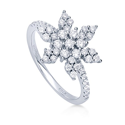BERRICLE Rhodium Plated Sterling Silver Cubic Zirconia CZ Snowflake Fashion Right Hand Ring Size 9 ()