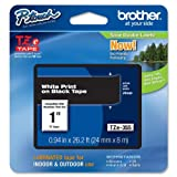 brother 24 mm tape - Brother Laminated Tape White on Black, 24mm (TZe355) - Retail Packaging