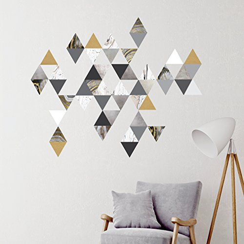 Modern Art Wall Decals, Gold, Gray, Marble, Triangles, Geometric Decals, Repositionable, Fabric Wall Decals plus 6 Bonus Metallic Gold Triangle Vinyl Decals 51BRGRleKLL