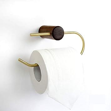 Shelfhx Sostenedor del Papel higiénico del Metal nórdico Sostenedor del Rollo de Madera sólida Creativa Cuarto de baño Inodoro dispensador de Toallas de ...