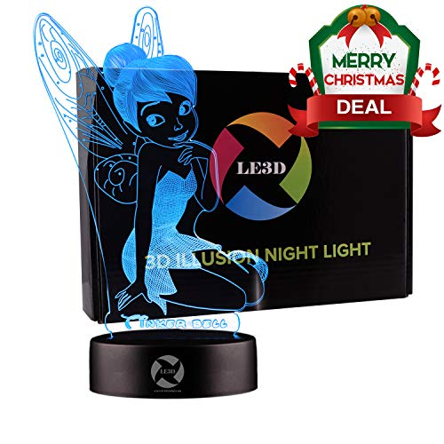 3D Optical Illusion Night Light - 7 LED Color Changing Lamp - Cool Soft Light Safe For Kids - Solution For Nightmares - Disney Fairy Tinker Bell Peter -