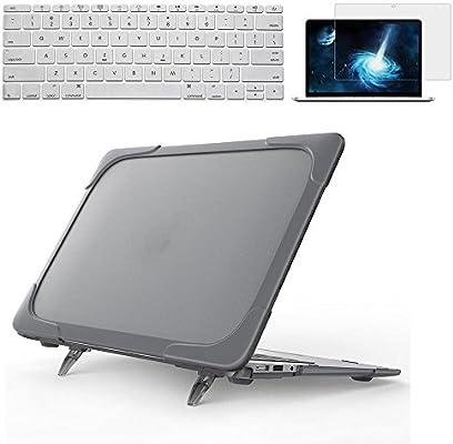 Ivos resistente Slim goma transparente Logo plástico duro Carcasa con TPU Bumper, carcasa, carcasa y Protector de pantalla para MacBook Teclado de ...