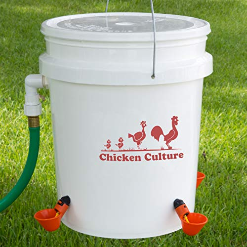 Automatic Poultry Bucket Watering Kit- Water Drinking Cups for Chickens w/Float (4 Cups) by Chicken Culture
