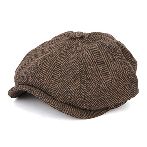 HSRT Visor Woolen Blending Newsboy Beret Cap Outdoor Casual Winter Cabbie HatCoffee by HSRT