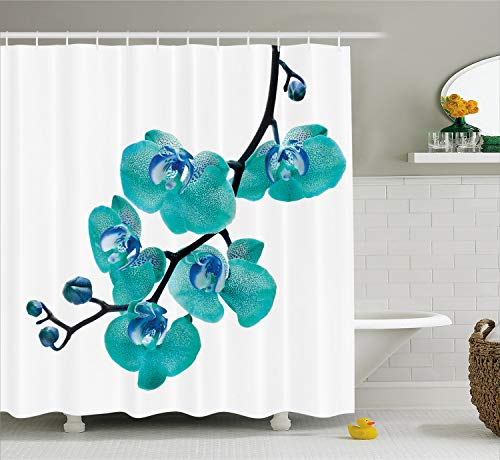 - Lunarable Aqua Shower Curtain, Blossoming Orchid Foliage Arrangement Spring Season Inspired Tropical Plant Theme, Fabric Bathroom Decor Set with Hooks, 70 inches, Aqua Blue Black
