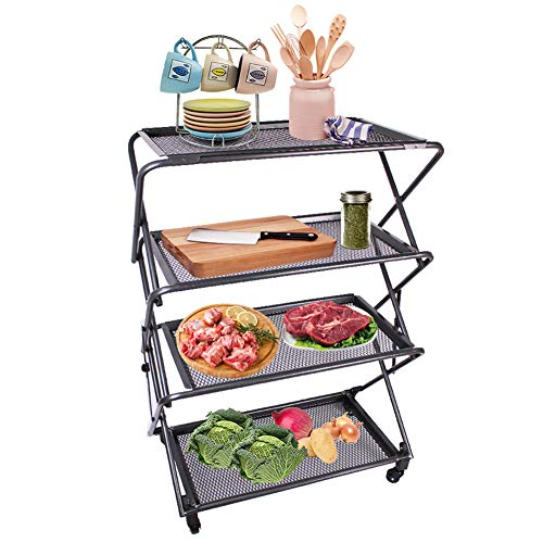 Zenree 4-Tier Folding Kitchen Shelf, Removable Mesh Trays Storage Rack Cart - Collapsible Rolling Utility Shelf Organizer with Wheels for BBQ Service, Bakery, Cafe, Patio, Bathroom, ()